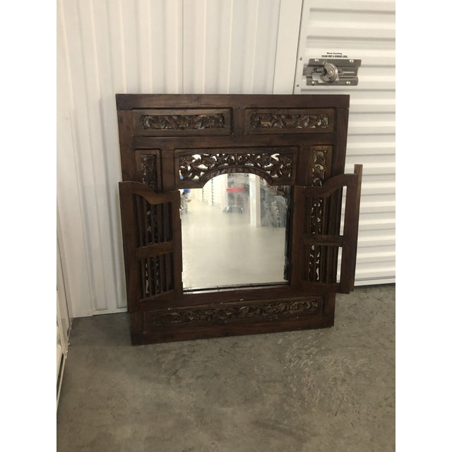 1990s Vintage Hand Carved Wood Indian Wall Mirror For Sale - Image 5 of 9