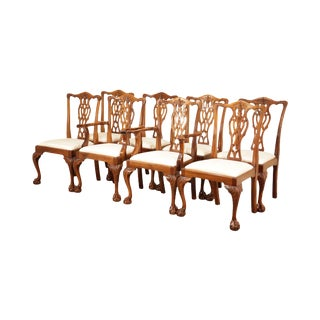 Chippendale Style Solid Mahogany Set 8 Ball & Claw Dining Chairs For Sale