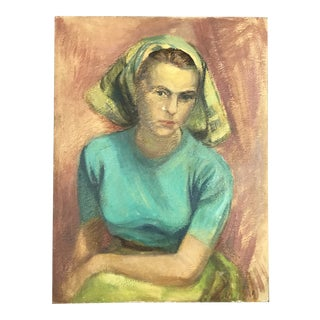French 1950s Femme With Headwrap Painting For Sale