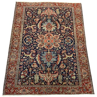 Navy Antique Persian Heriz Serapi Rug - 8′10″ × 11′10″ For Sale