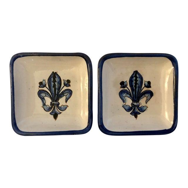 Vintage Blue White Italian Pottery Fleur De Lis Dishes- a Pair For Sale