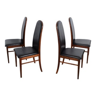 1960s Milo Baughman for Dillingham Mid-Century Modern Walnut Dining Chairs - Set of 4 For Sale