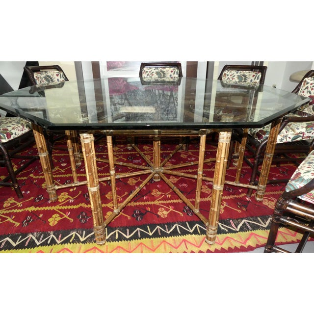 John McGuire McGuire Bamoo and Laced Rawhide Octagonal Dining Table For Sale - Image 4 of 13