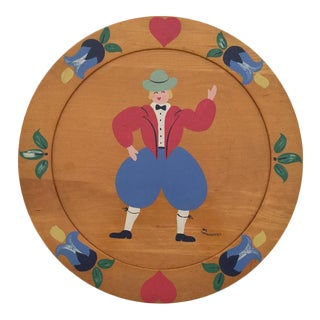 Vintage Mid Century Germany Wooden Home Decor Wall Plate For Sale