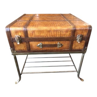1980s Boho Chic Suitcase Coffee/Side Table For Sale