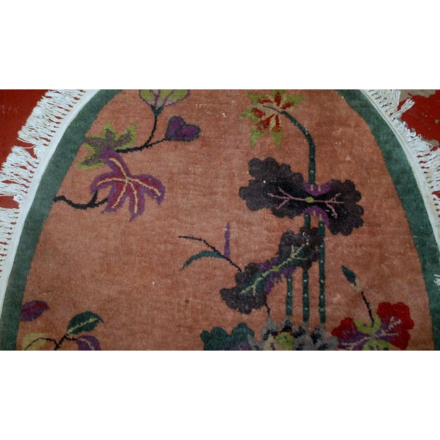 1920s Handmade Antique Oval Art Deco Chinese Rug - 3' X 4.10' - Image 5 of 7