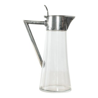 Modern Vintage Silver Glass Small Pitcher Server For Sale