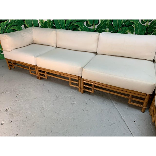 Ficks Reed Rattan Chinoiserie Sectional Sofa For Sale - Image 6 of 12