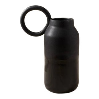 Contemporary Handmade Ceramic Olivia Round Handle Pitcher - Noir For Sale