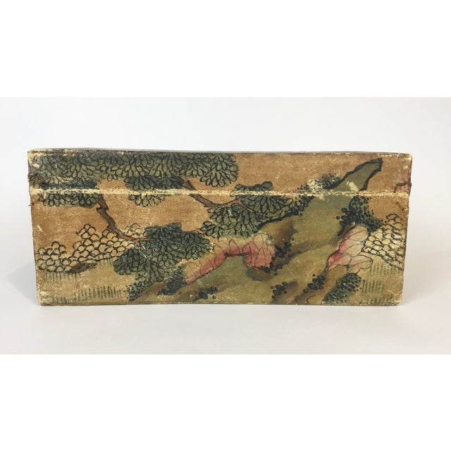 19th Century 19th C. Asian Hand Painted Hide Box For Sale - Image 5 of 12