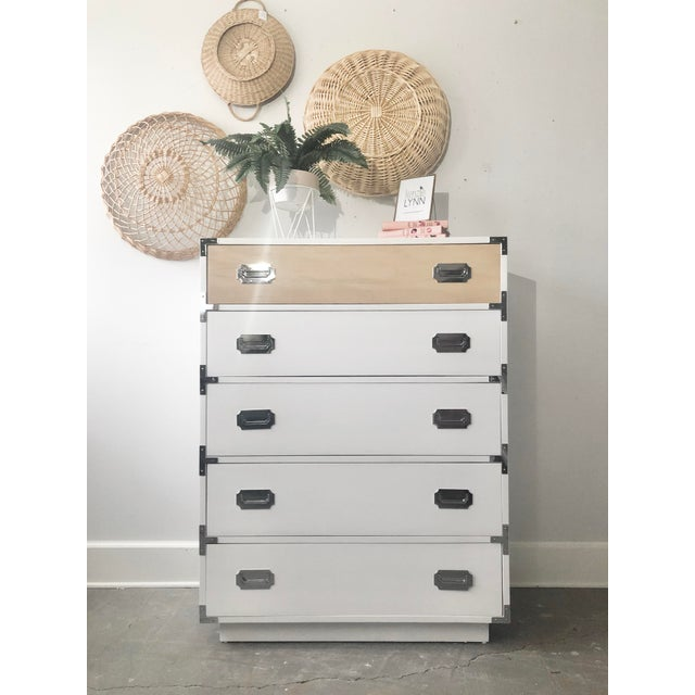 Vintage Dixie Campaigner Dresser that has been reNEWed with a fresh and modern look. The dresser features five dovetailed...