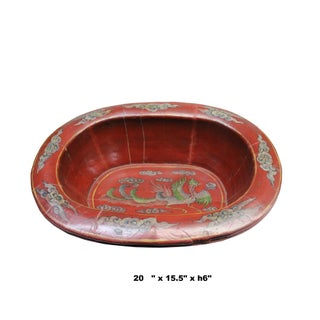 Chinese Vintage Distressed Red Flower Oval Shape Wood Bucket Preview