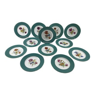 Signed J. Colclough Minton H4780 Hand Painted Floral Aqua Rim Plates - Set of 12 For Sale
