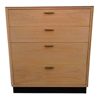 Edward Wormley Style Blonde Bachelor's Chest With Brass Drawer Pulls For Sale