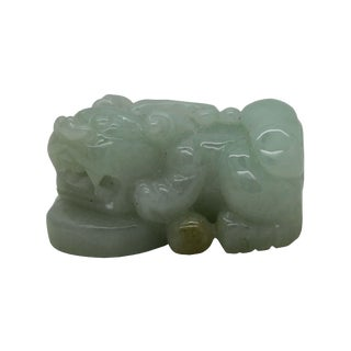 Hand Carved Chinese Natural Jade Pixiu on Money Pendant Fengshui Figure For Sale