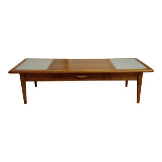 Warren Church for Lane Perception Walnut & Travertine Coffee Table For Sale