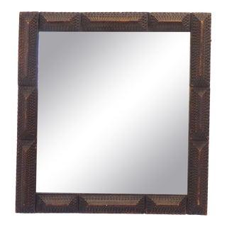 Vintage Folk Tramp Art Mirror For Sale