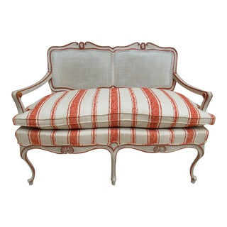 Vintage French Regency Paint Decorated Cane Settee