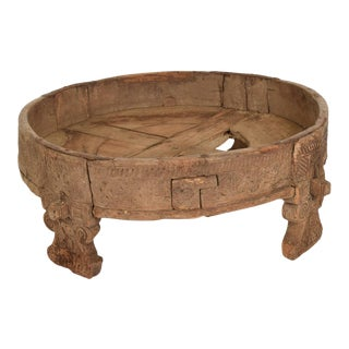 Antique Rice Washer Wood Planter Base Outdoor Patio Garden Table For Sale