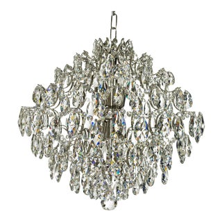 Crystal Chandelier in nickel plated brass with crystals (width 50cm/20 inches)