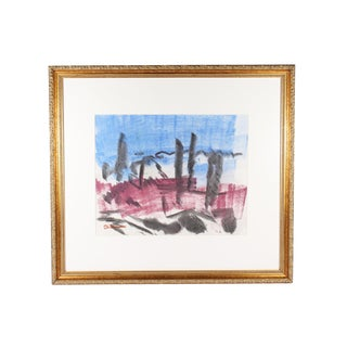 Abstract Crayon Landscape Drawing Signed Paul Chidlaw For Sale
