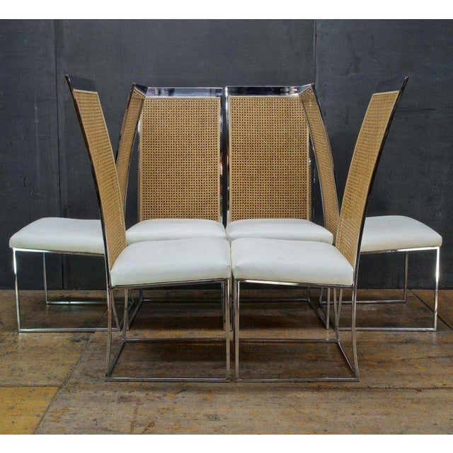 Animal Skin Six 1970s Milo Baughman High Back Cane Chrome Dining Chairs Postmodern Vintage For Sale - Image 7 of 11