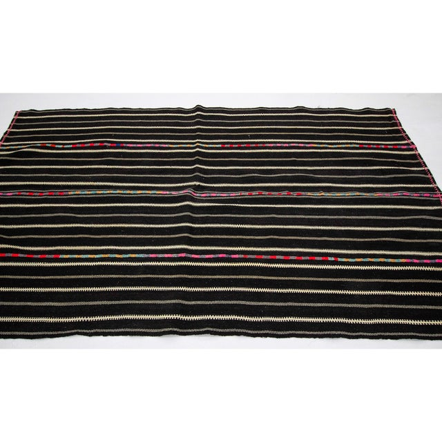 Contemporary 1960s Vintage Striped Black Kilim Rug- 4′9″ × 8′2″ For Sale - Image 3 of 7