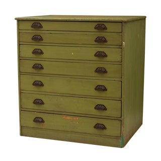 Hand-built Flat File Cabinet W/ Cast Iron Pulls Circa 1890s