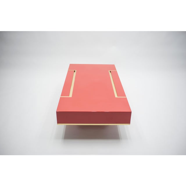 1970s Rare j.c. Mahey Red Lacquer and Brass Coffee Table, 1970s For Sale - Image 5 of 13
