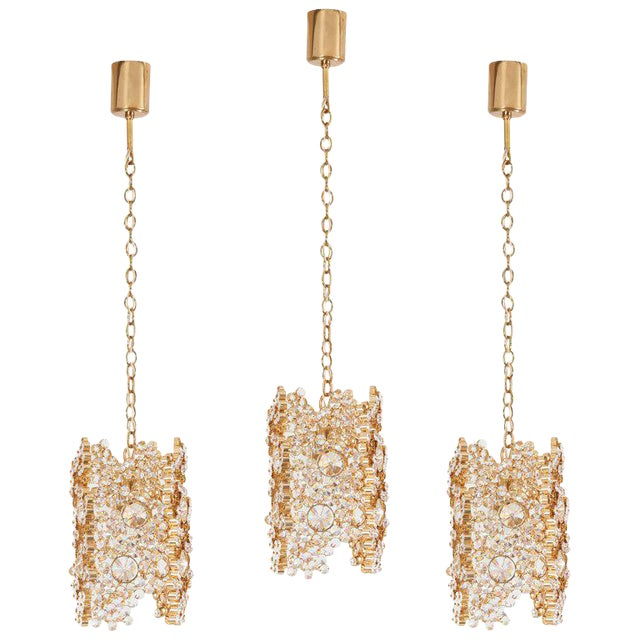 One of Three Palwa Gilded Brass and Crystal Glass Encrusted Pendant Lamps For Sale