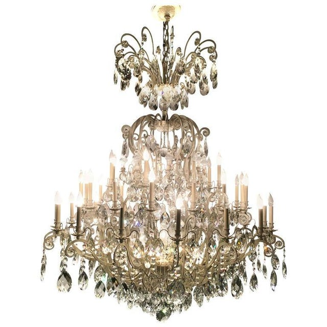 Monumental German Schonbek Painted Brass and Crystal Chandelier For Sale - Image 11 of 11