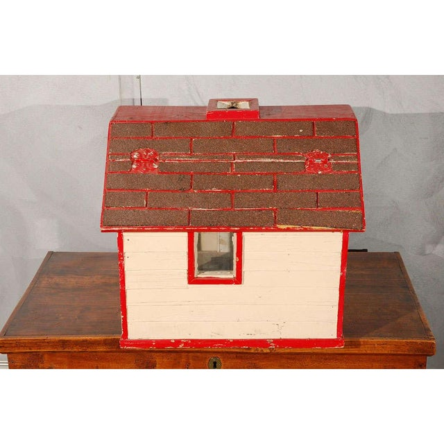 Red Folk Art House / Flag Stand For Sale - Image 8 of 10