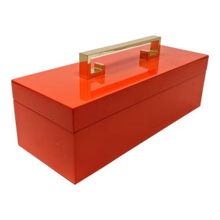 Bright Orange Enamel Finish Decorative Box With Gold Handle For Sale
