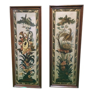 Maitland-Smith Attributed Hand Painted Panels - A Pair For Sale