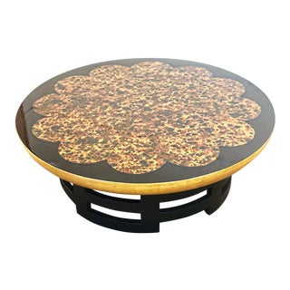 "1950s Chinoiserie Muller & Barringer for Kittinger 42"" Tortoise Lotus Black Lacquered Coffee Table For Sale"