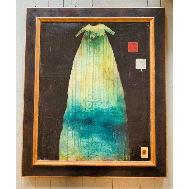"Original Listed Contemporary Artist Patricia Jo Peacock ""Dress of Tears"" Encaustic & Paper Painting For Sale In Philadelphia - Image 6 of 6"