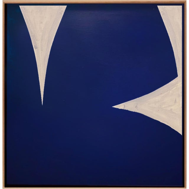 Original Framed Blue and White Abstract Painting by Brooks Burns For Sale - Image 4 of 4