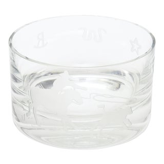 "Perry Coyle Signed for Steuben Etched Crystal Glass ""Rodeo"" Bowl For Sale"
