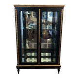 Image of Antique Beveled Glass Marble Top Curio Display Cabinet For Sale