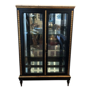 Antique Beveled Glass Marble Top Curio Display Cabinet For Sale