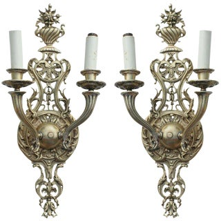 19th Century Baroque Style Ormolu Wall Sconces - A Pair For Sale