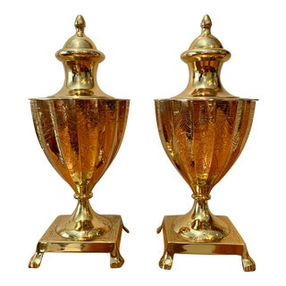 1990s Vintage Decorative Brass Urns- a Pair For Sale