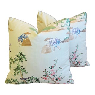 "Gp & J Baker Chinoiserie Floating Pavilion Feather/Down Pillows 19"" Square - Pair For Sale"
