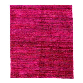 Fuchsia Indian Sari Silk Rug - 5′6″ × 6′4″ For Sale