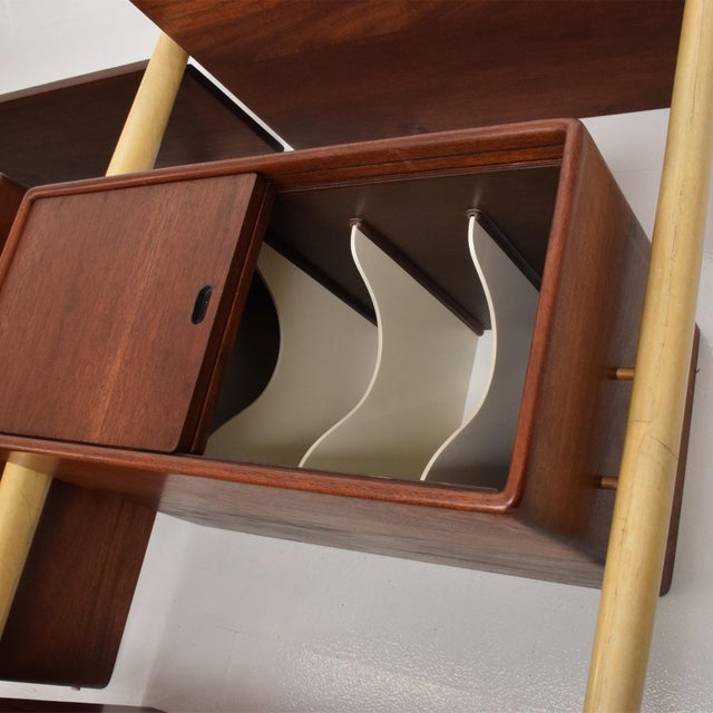 Gold Monumental Mexican Modernist Wall Unit in Solid Mahogany and Goatskin For Sale - Image 8 of 12