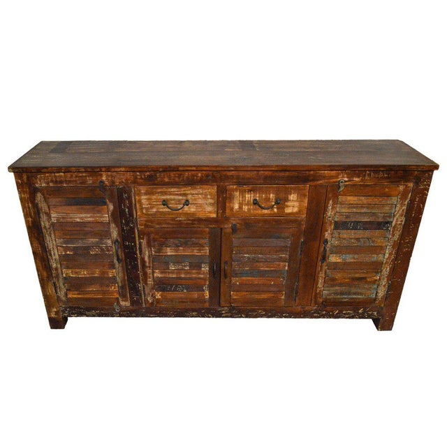 Industrial Reclaimed Wood Buffet Table For Sale - Image 3 of 3