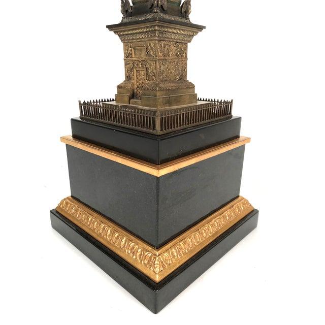 Black Marble Large Grand Tour Gilt Bronze Model of the Place Vendome Napoleon Column in Paris For Sale - Image 7 of 13