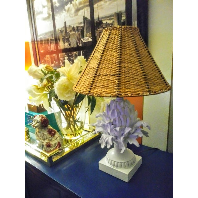 A Pair Palm Beach Regency White Peeled Pineapple Table Lamps W/ Wicker Shades For Sale - Image 4 of 7