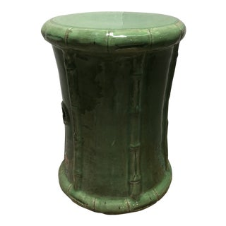 Boho Chic Ceramic Glazed Garden Stool For Sale