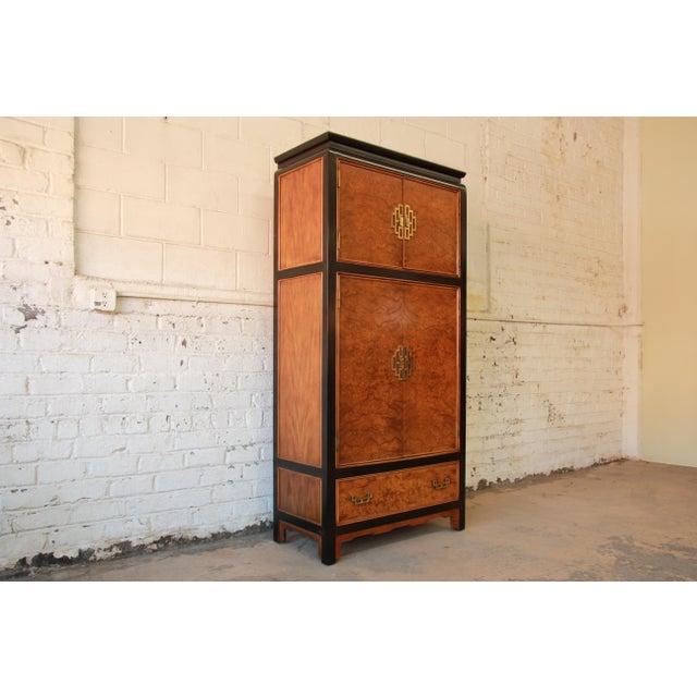 Century Furniture Black Lacquer & Burlwood Armoire - Image 9 of 11